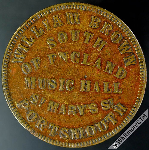 Portsmouth Inn / Pub Token South of England Music Hall 6d