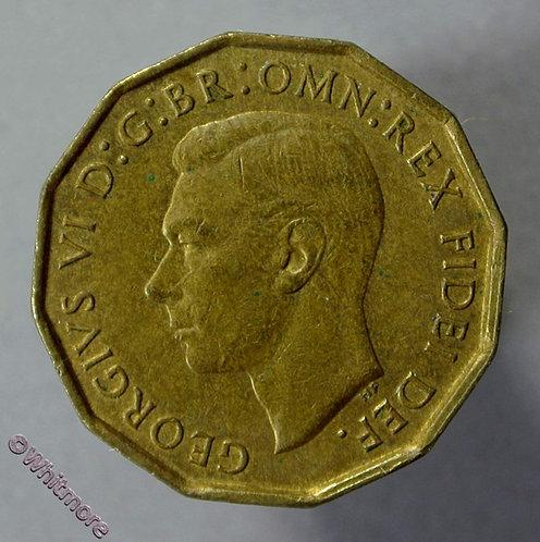 1952 British Threepence Brass George VI 30% Luster