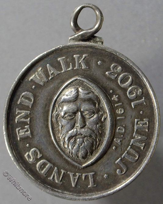 Lands End Walk 1903 medal 26mm John the Baptist's head - two walkers Silver
