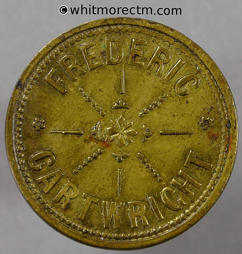 25mm Value Stated Token Frederic Cartwright / 2D - Brass
