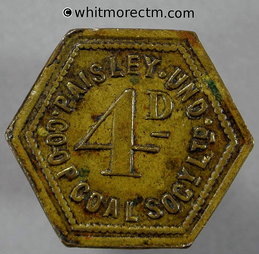 Co-Operative Society Token Paisley Underwood Coal Society 4D Hexagonal