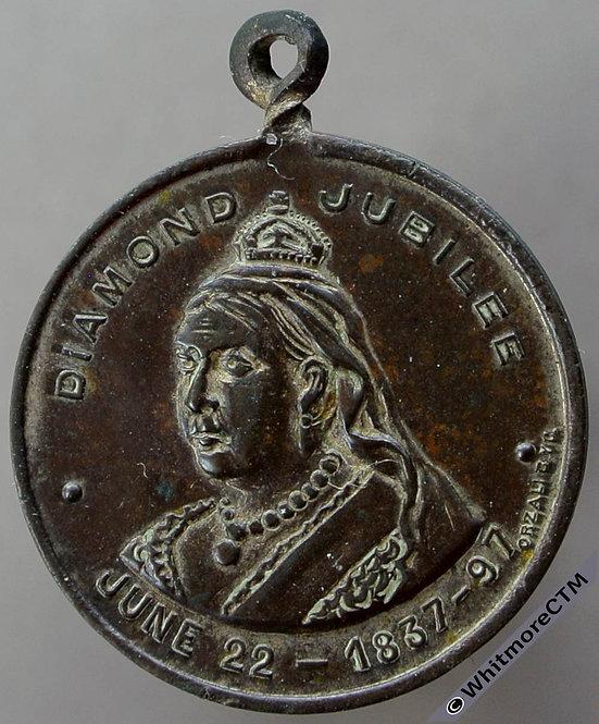 Argentina / Britain 1897 Diamond Jubilee Medal 24mm WE3300 Silvered bronze. Rare