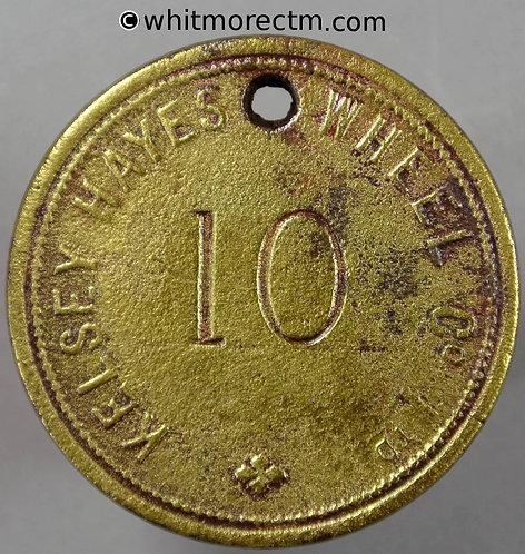 USA Token Kelsey Hayes Wheel Co. Ltd 39mm Stamped 10. 1108 incuse. Brass Pierced