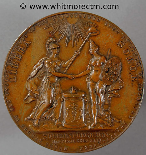1904 New York Holland Society Medal 44mm after Dutch medallion of 1782