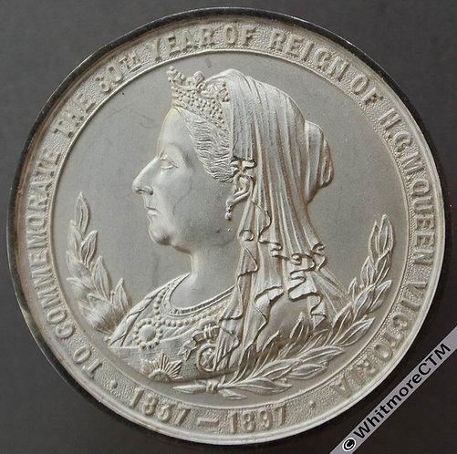 1897 Victoria Diamond Jubilee Medal 37mm B3595 Five shields. Matte silver Cased