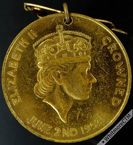 Jersey 1953 Coronation Medal 35mm WE8030C Gilt brass