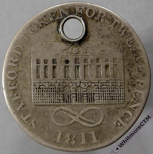 19th Century Shilling Stafford 14 1811 Tower & lions -Large piercing