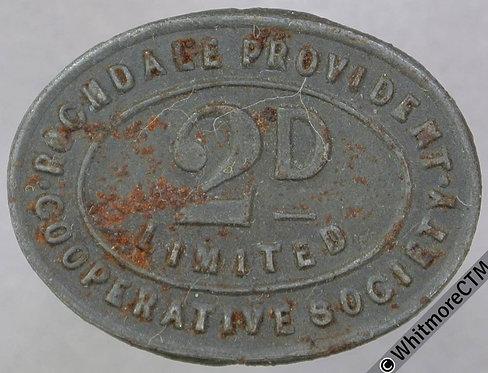 Co-Operative Society token Rochdale Provident - 25x19mm 2d Oval Bracteate