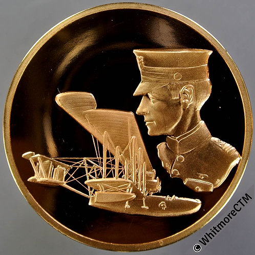 RAF Museum Medal 44mm Commemorate First Trans Atlantic Flight. Gilt bronze proof
