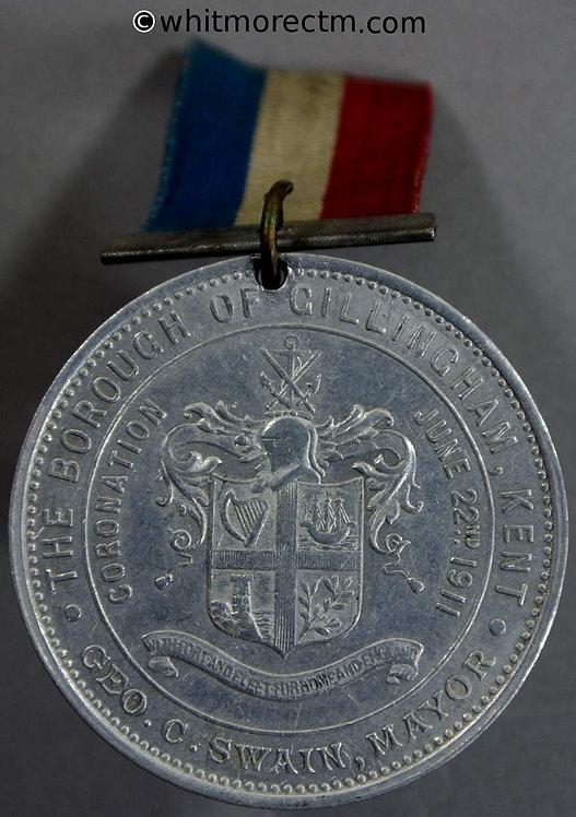 Gillingham 1911 George V Coronation Medal 39mm Pierced WE5135K - Aluminium