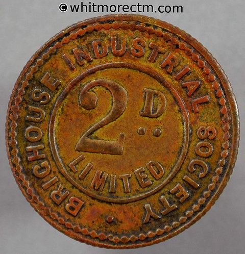 Co-Operative Society Token Brighouse Ind. 22mm 2d. Same both sides - Copper