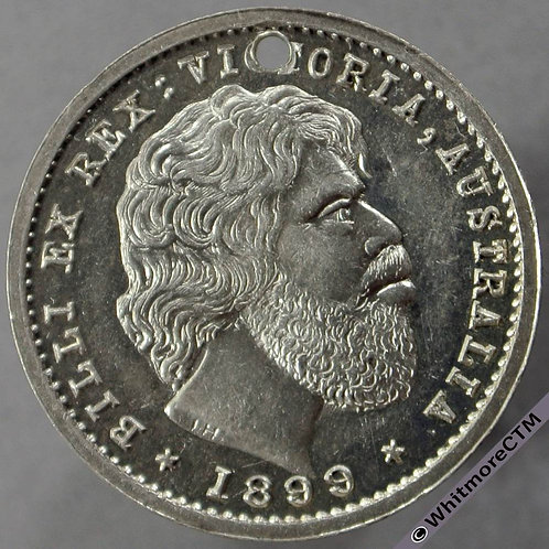 1899 Australia Billi Ex Rex : Victoria. Head of Aborigine Medal obv 23mm silver C3