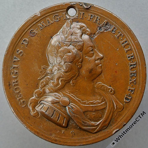 1714 Entry of George I into London Medal 46mm MI 423/7 By Croker. Bronze Pierced