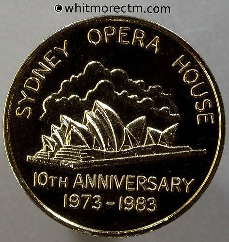 1983 Australia Sydney 10th Anniversary Opening Opera House Medal 32mm obv