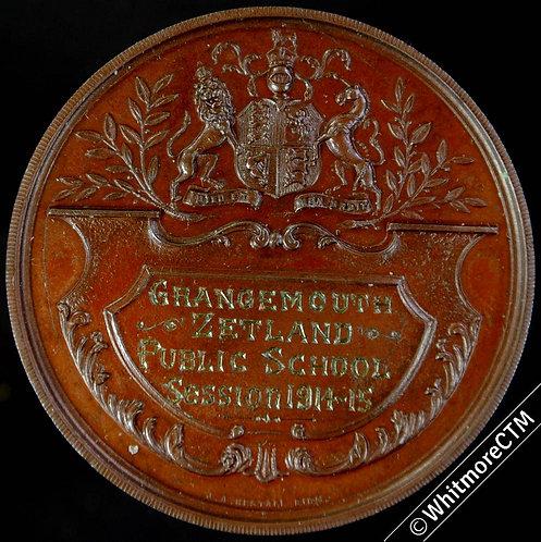 1915 Grangemouth Zetland Public school attendance Medal 42mm Not in Dry