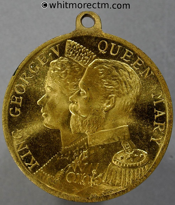 Accrington 1911 George V Coronation Medal 32mm WE5243E Gilt brass