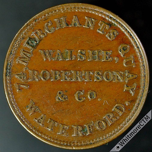 Unofficial Farthing Waterford 6900 1846 Walshe Robertson & Co. Drapers. Ex Rare