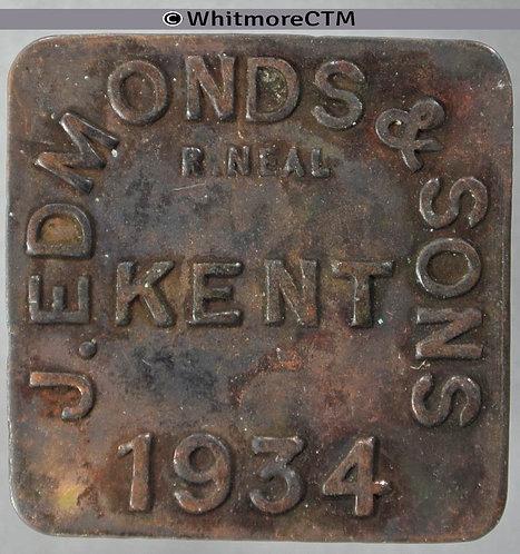 Market Token Kent 28mm 1934 J.Edmonds & Sons. Square bracteate brass