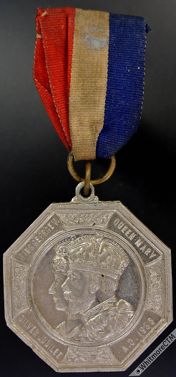 1935 Coseley  Silver Jubilee Medal 39mm WE5719F Octagonal alum. ring & ribbon