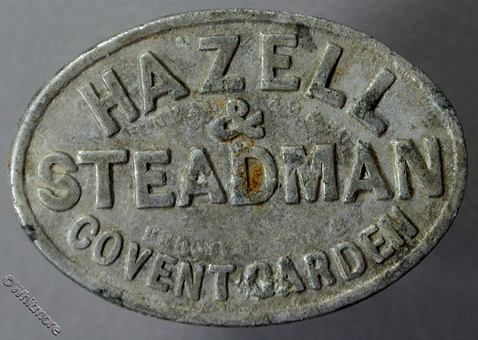 Market Token Covent Garden 1s Hazell & Steadman. Oval aluminium 36x25mm