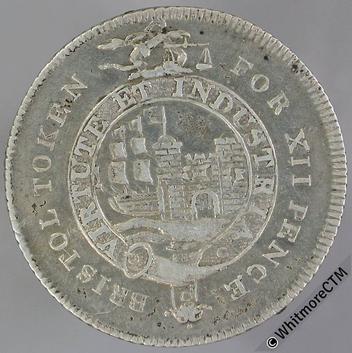19th Century Shilling Bristol 26 1811 Arms in garter / Garratt Terrett etc.