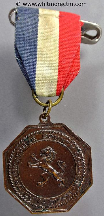 Denbighshire 1937 Coronation Medal 32mm George VI WE7150E Octagonal bronze