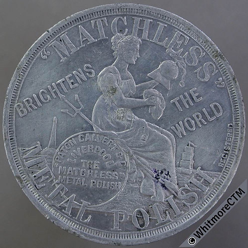 1900 Calendar Medal Matchless Metal Polish 38mm Britannia cleaning helmet.  Alum
