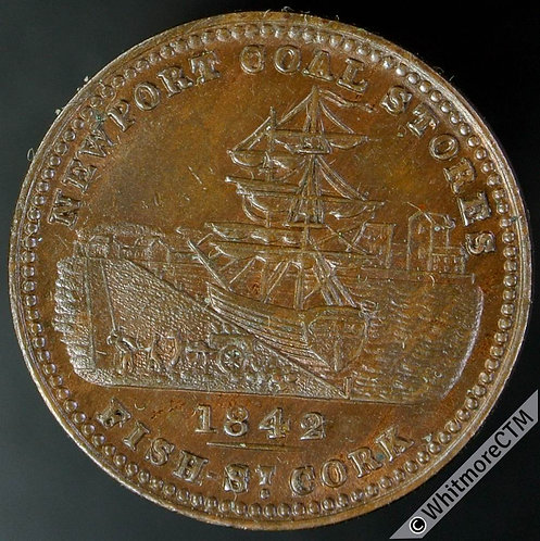 Unofficial Farthing Cork 5680 1842 G.S.Beale. Ship at Wharf - Unicorn Head Crest