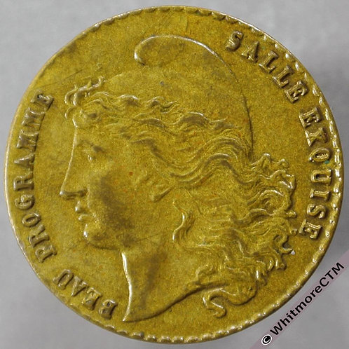 France Paris Early Cinema Token obv 21mm Gilt Brass Actualities Cinephone