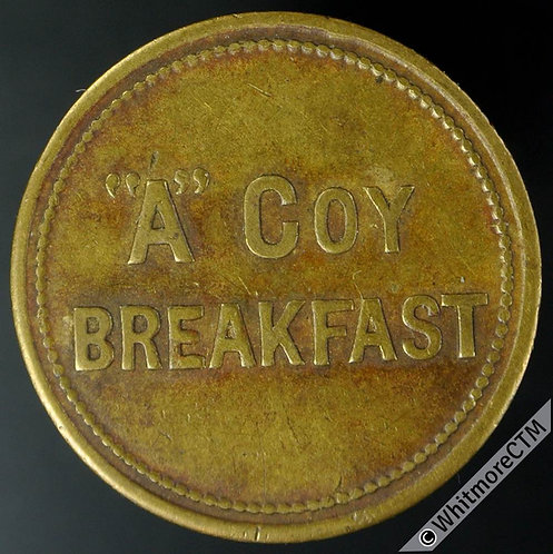"Armed Forces Token 25mm ""A"" Coy Breakfast - Uniface brass - Yarwood BMT075"