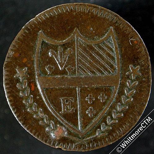 18th Century Farthing Token Edinburgh 70 1796 Shield with letter E - Rare