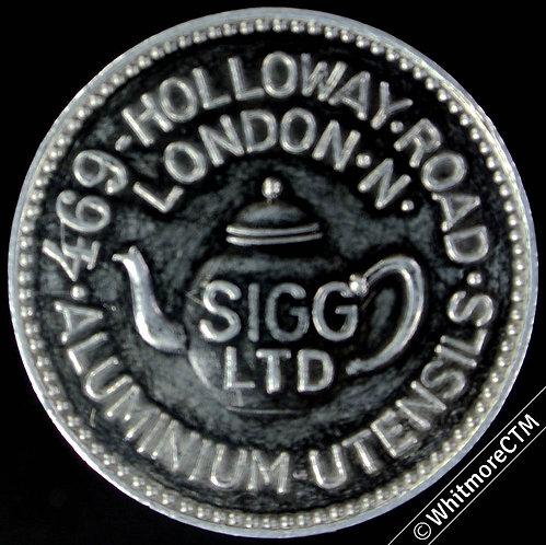 Advertising Token London 30mm Sigg Ltd. 469 Holloway Road. Teapot depicted. Alum