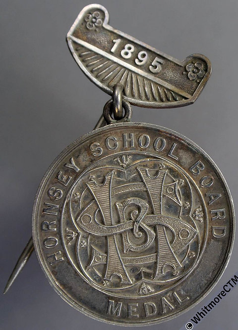 1895 Hornsey School Board Attendance Medal 32mm D980 Silver with suspender