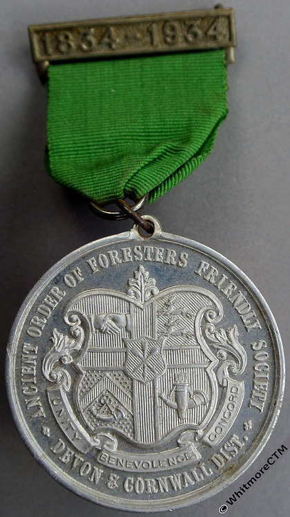 1934 Devon & Cornwall Centenary of Ancient Order of Foresters Medal 45mm
