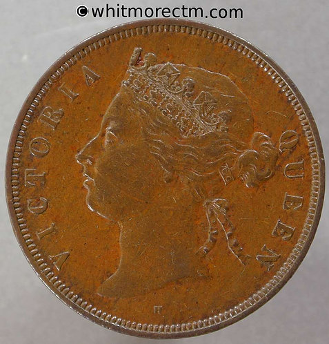 1874H Straits Settlements 1 Cent coin obv - Queen Victoria British Crown Colony