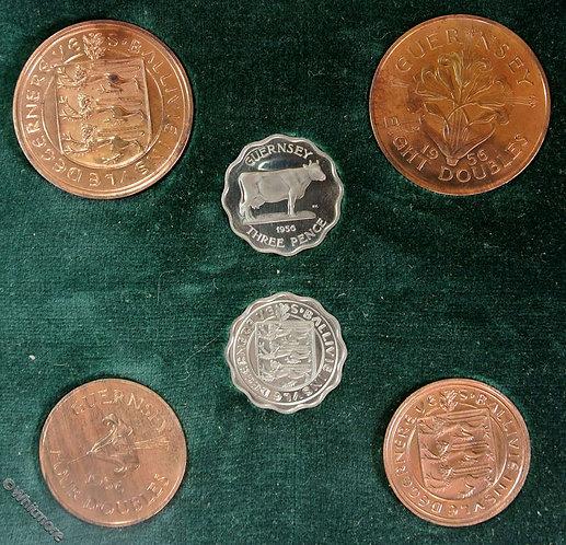 1956 Coin Set Guernsey Double set ½d, 1d & 3d. Cased proofs