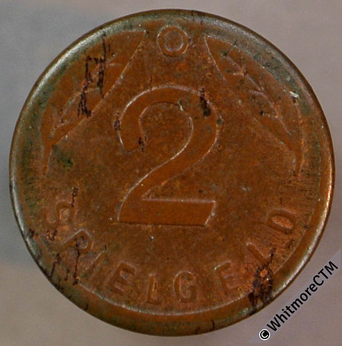 Toy Coin Germany Spielgeld 2 / 3 leaves 1949. O at top 13mm Coppered Iron