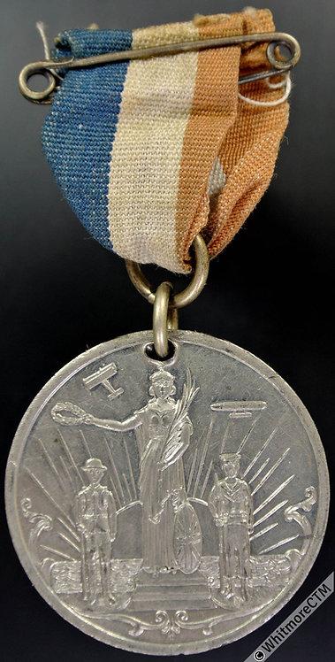 Huddersfield 1919 Peace Celebration Medal 38mm Britannia, soldier & sailor W.M