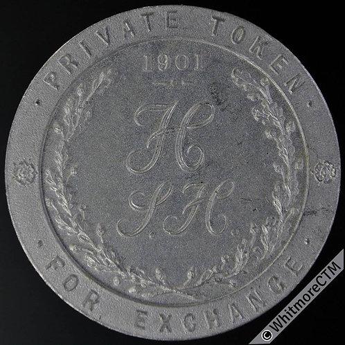 Numismatist S.H.Hamer Halifax Private Token 35mm 1901 - Bell A6/A7 Matte Alum
