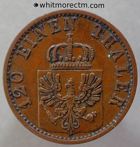1869 Germany  Prussia C163a 3 Pfennig coin 1869C obv