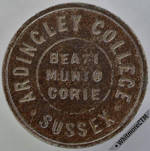 "School Token 25mm Ardingley College Sussex ""Beati Munio Corie""/ 1D.  Iron"