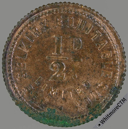 Co-Operative Society token Selkirk Equitable 22mm ½d  Same both sides. Bronze