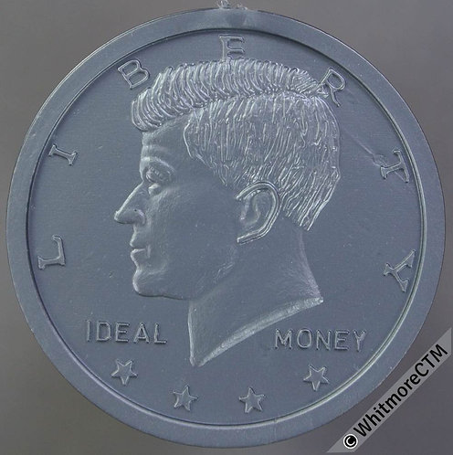 Toy Coin USA 32mm Kennedy Half Dollar - Ideal Money - Grey Plastic