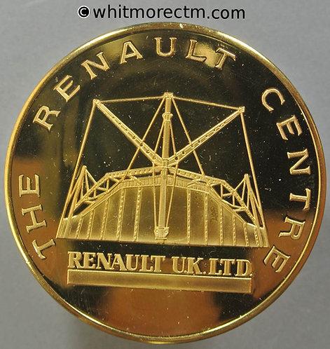 Swindon Renault Medal 51mm View of Renault Centre Building - Logo Gilt Bronze