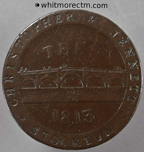 19th Century Penny Stockton on Tees 1115 1813 Christopher & Jennett - obv