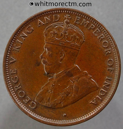 1923 Ceylon One Cent coin - 10% Luster