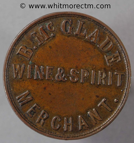 Unofficial Farthing Belfast 5490 B.McGlade 34 Edward St- Wine & Spirit Merchant - obv