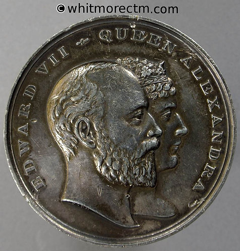 1902 Edward VII Coronation Medal obv 45mm B3801 By Pope - White metal