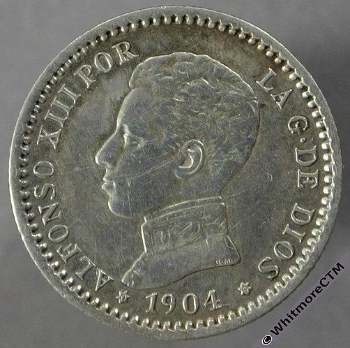 1904 Spain 50 Centimos obv - Silver