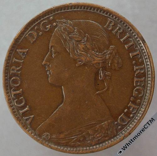 1873 British Bronze Farthing Victoria Bun Head.
